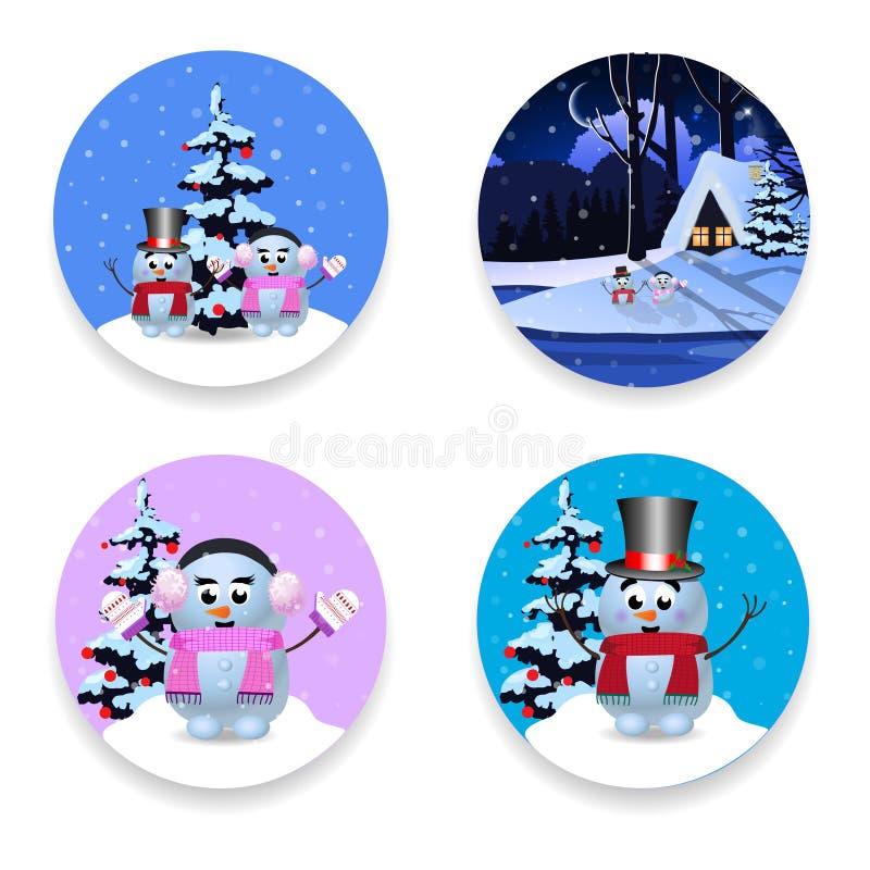 Boże Narodzenia, nowego roku round znaki ustawiają z ślicznymi postaciami z kreskówki na bielu royalty ilustracja