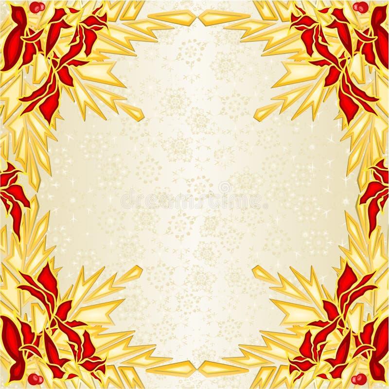 Boże Narodzenia, nowy rok dekoracji ramowa czerwień, złotej poinsecji gałąź sosny świerkowi rożki ve i złoty płatek śniegu roczni royalty ilustracja