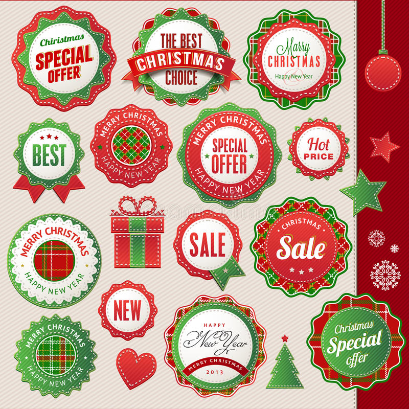 Boże Narodzenia Nowy Rok elementy i odznaki i royalty ilustracja