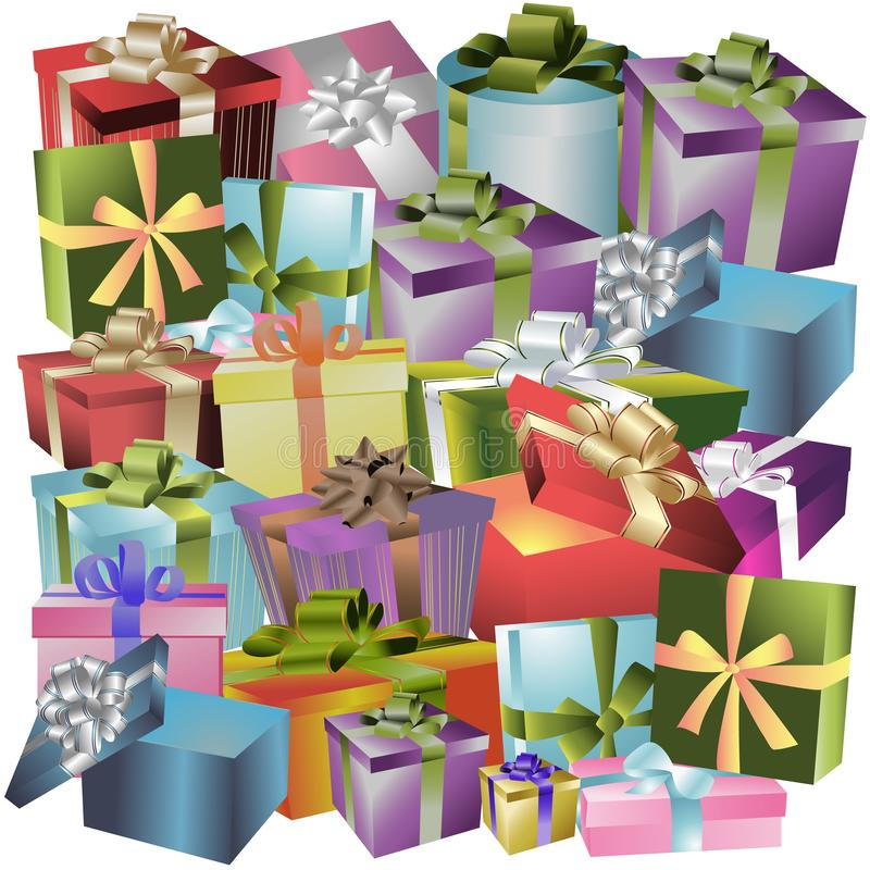 Boże Narodzenia, nowy rok wakacji prezenta pudełka, prezenty z jaskrawym opakowaniem, ilustracja wektor
