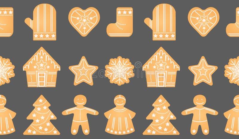 Boże Narodzenia, nowy rok, zima wakacji Imbirowy biskwitowy bezszwowy wzór ilustracja wektor
