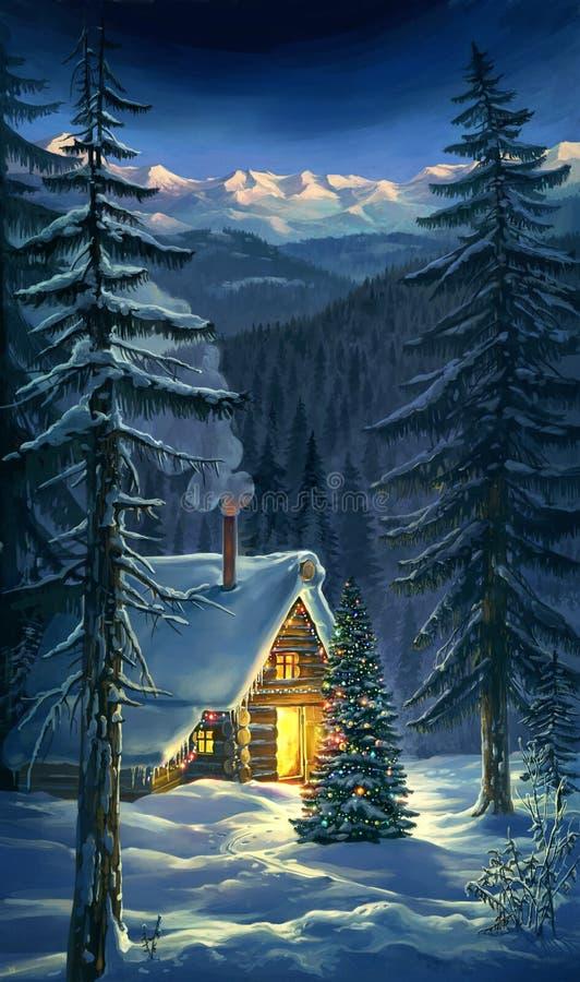 Boże Narodzenia. Nowy Rok zimy krajobraz. royalty ilustracja