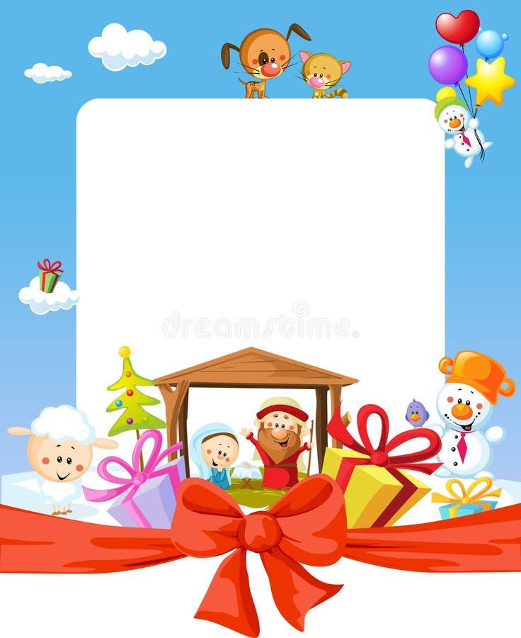 Boże Narodzenia obramiają - narodzenie jezusa z Jesus, Maria i Joseph, ilustracji