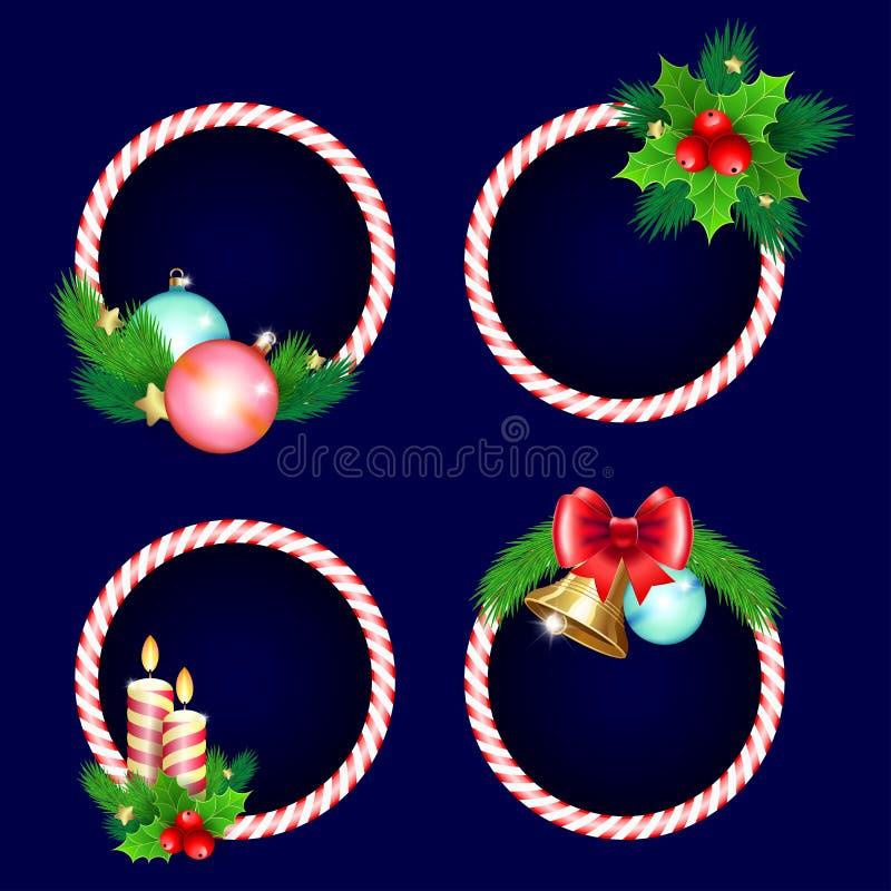Boże Narodzenia obramiają setu projekt z świeczka dzwonów gałąź i one kłaniają się ilustracja wektor