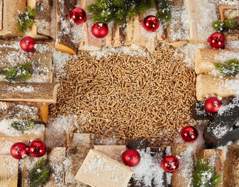 Boże Narodzenia obramiają z belami dekorować z baubles obraz royalty free