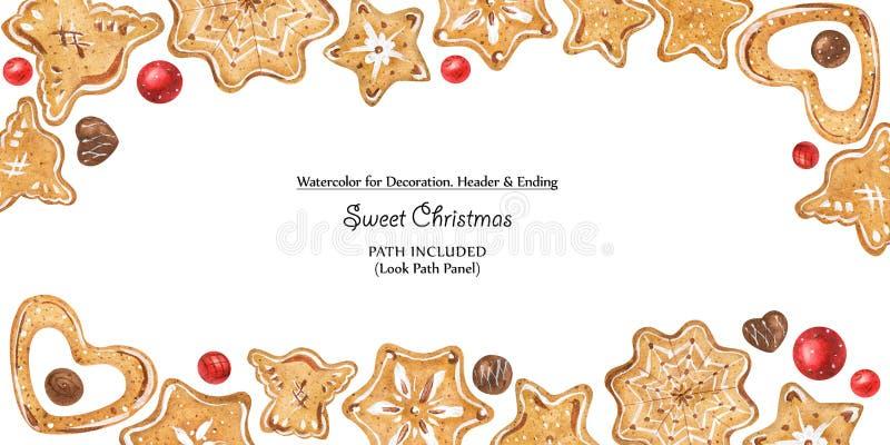 Boże Narodzenia obramiają z czekoladami i ciastkami ilustracja wektor