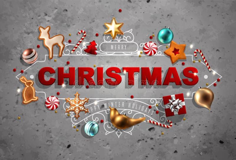 Boże Narodzenia obramiają z dekoracjami royalty ilustracja