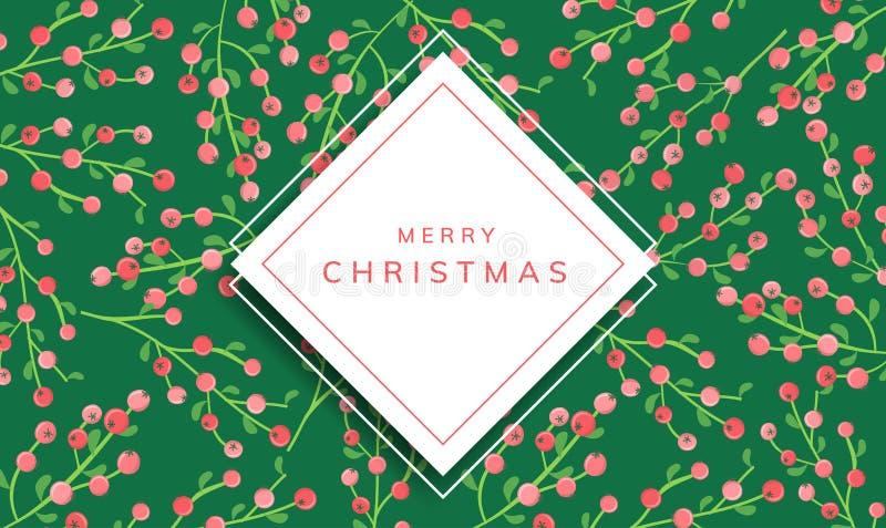 Boże Narodzenia obramiają z jagoda wzorem ilustracji