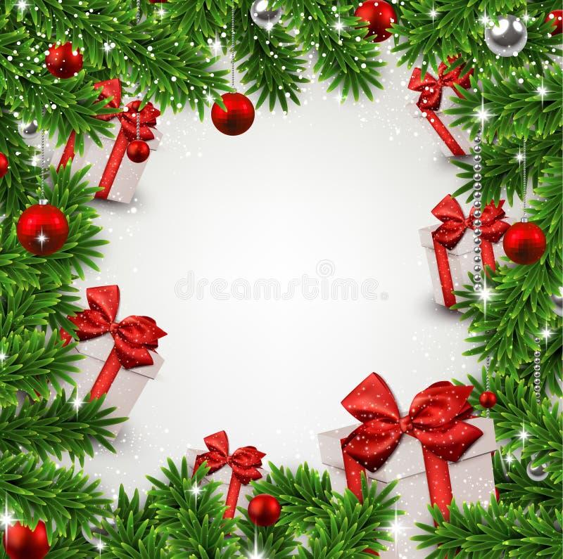 Boże Narodzenia obramiają z jedlinowymi gałąź i prezentów pudełkami. ilustracji