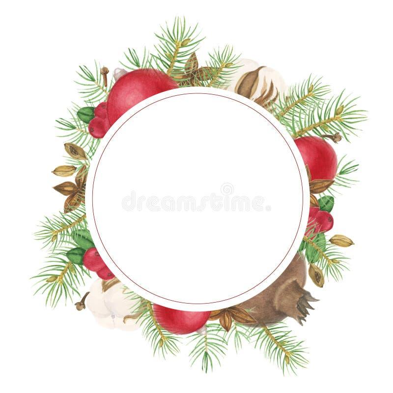 Boże Narodzenia obramiają z pikantność, gałąź drzewo i dekoracją, akwarela obraz ilustracja wektor