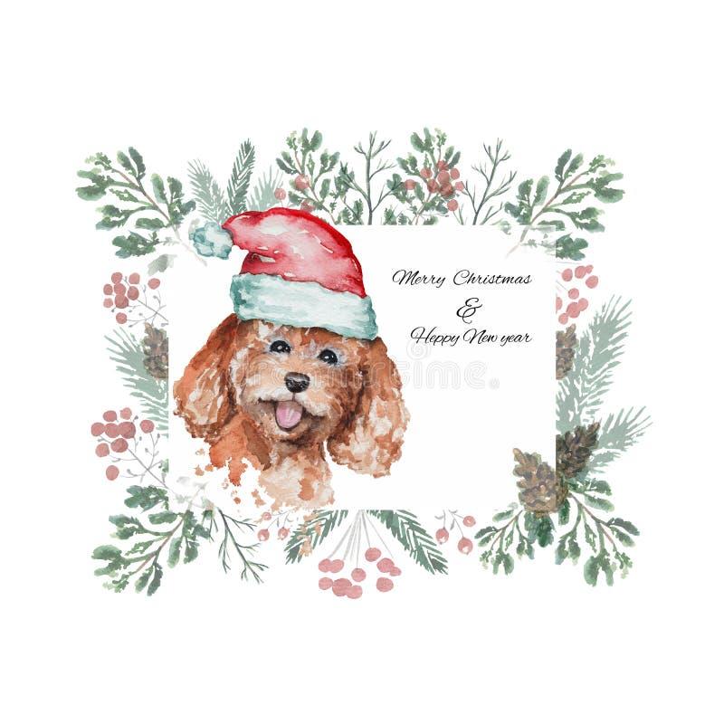 Boże Narodzenia obramiają z pudlem w czerwonej Santa ` s nakrętce ilustracja wektor
