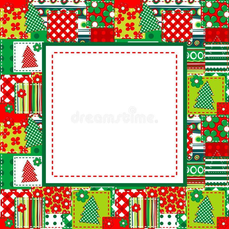 Boże Narodzenia obramiają z uszytymi elementami ilustracja wektor