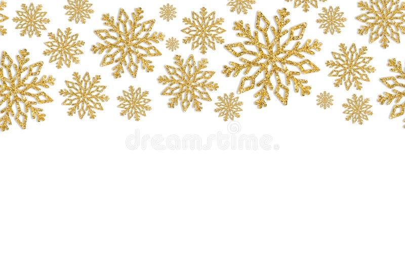 Boże Narodzenia obramiają z złocistymi płatkami śniegu Granica cekinów confetti zdjęcia stock