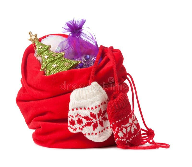 boże narodzenia odizolowywający czerwieni worek obraz royalty free
