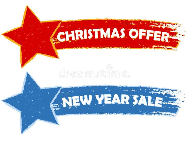 Boże Narodzenia oferują, nowy rok sprzedaż - dwa patroszonego sztandaru fotografia stock