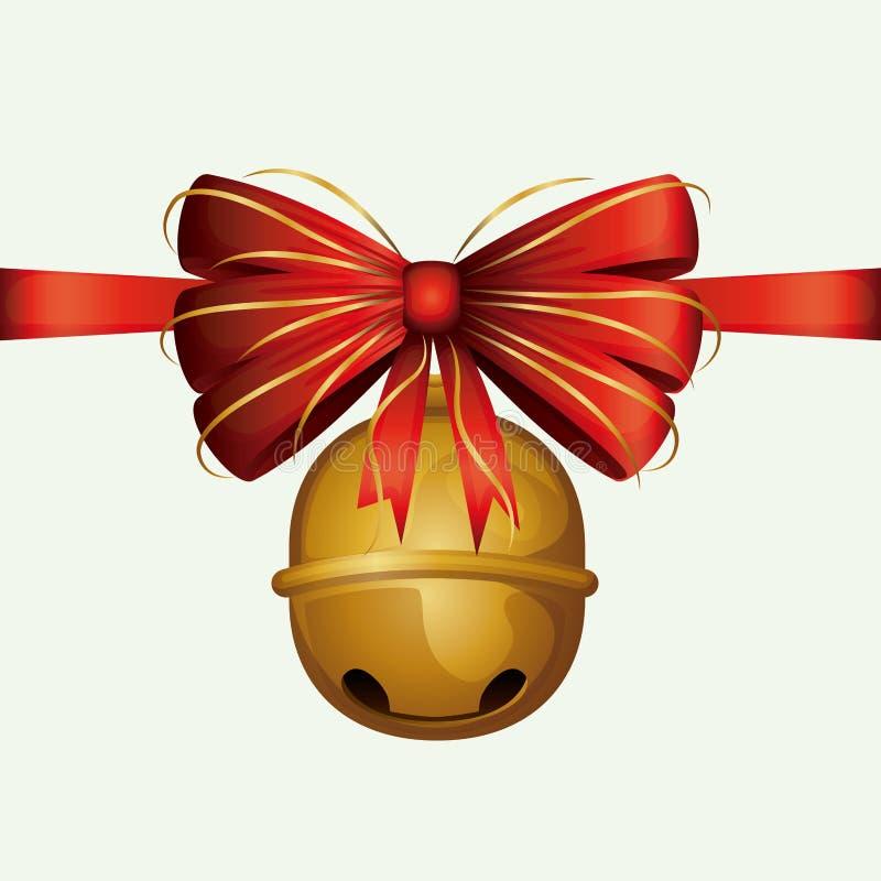 Boże Narodzenia ornamentują kolorowych dźwięczenie dzwony z czerwonym dekoracyjnym faborkiem na białym tle ilustracji