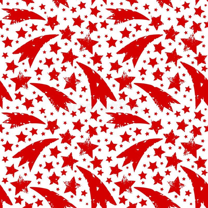 Boże Narodzenia ornamentują z grungy xmas czerwonymi gwiazdami ilustracji