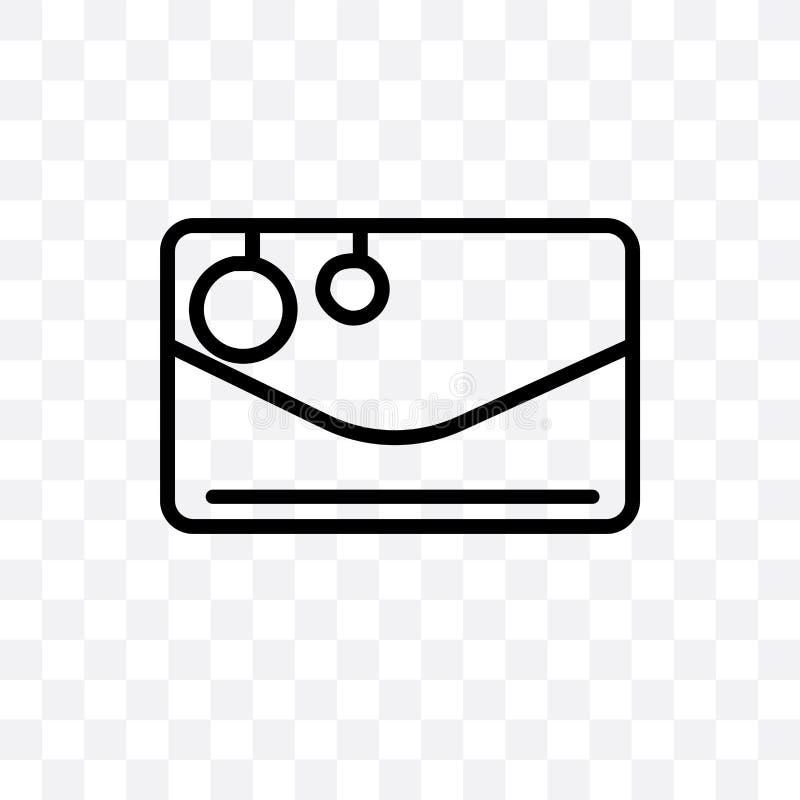 boże narodzenia piszą list wektorową liniową ikonę odizolowywającą na przejrzystym tle, boże narodzenia piszą list przezroczystoś royalty ilustracja