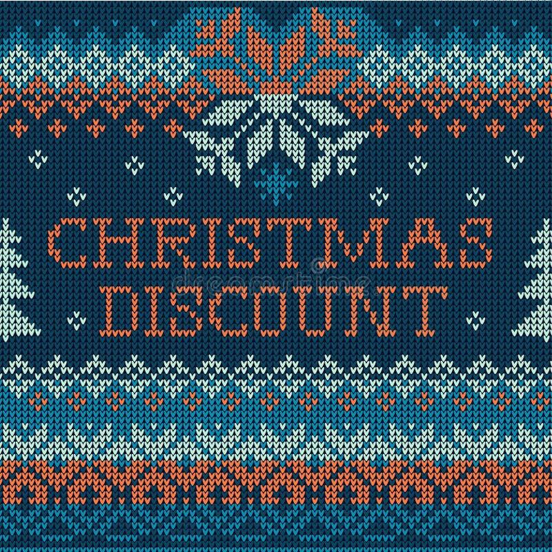 Boże Narodzenia pomijają: Skandynawa stylowy bezszwowy trykotowy wzór ilustracja wektor