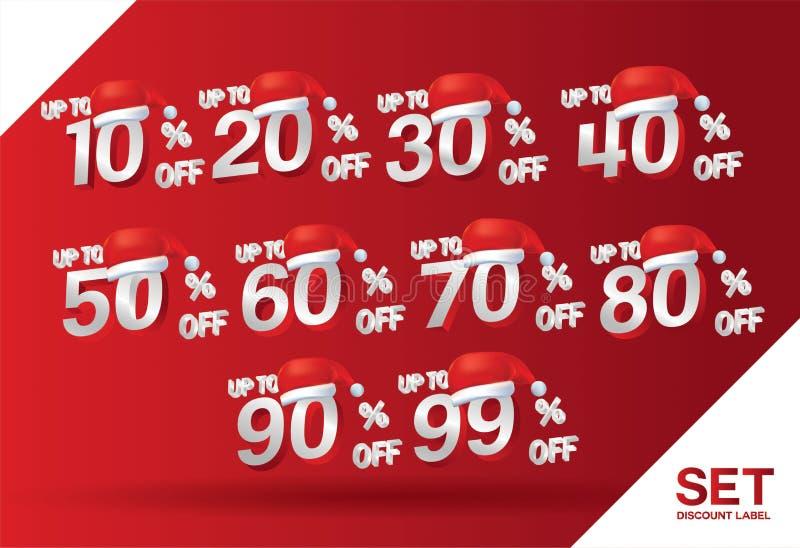 Boże Narodzenia pomijają sprzedaż ustawiają 10,20,30,40,50,60,70,80,90,99 procentów na czerwonej etykietki ustalonym wektorze z k ilustracja wektor