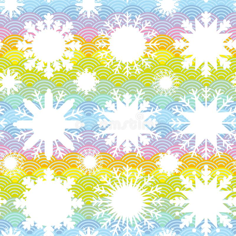 Boże Narodzenia projektują bezszwowego wzór, Kawaii biały płatek śniegu ustawiający na błękit mennicy pomarańcze menchii japończy ilustracji