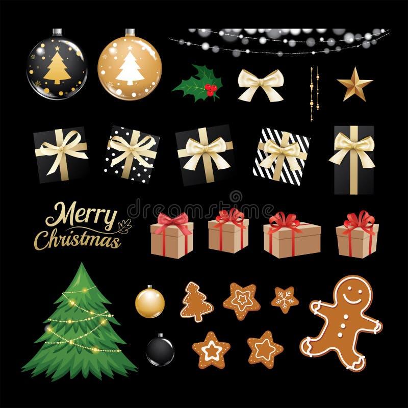 Boże Narodzenia protestują kolekcja ustalonych prezenty i dekoracyjnych ornamenty royalty ilustracja
