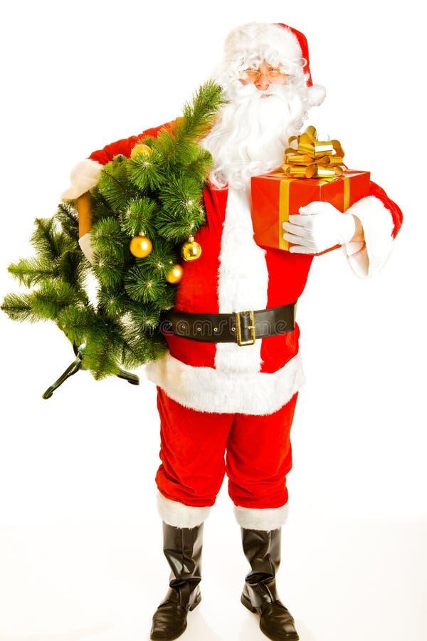 boże narodzenia przedstawiają Santa drzewa zdjęcie stock