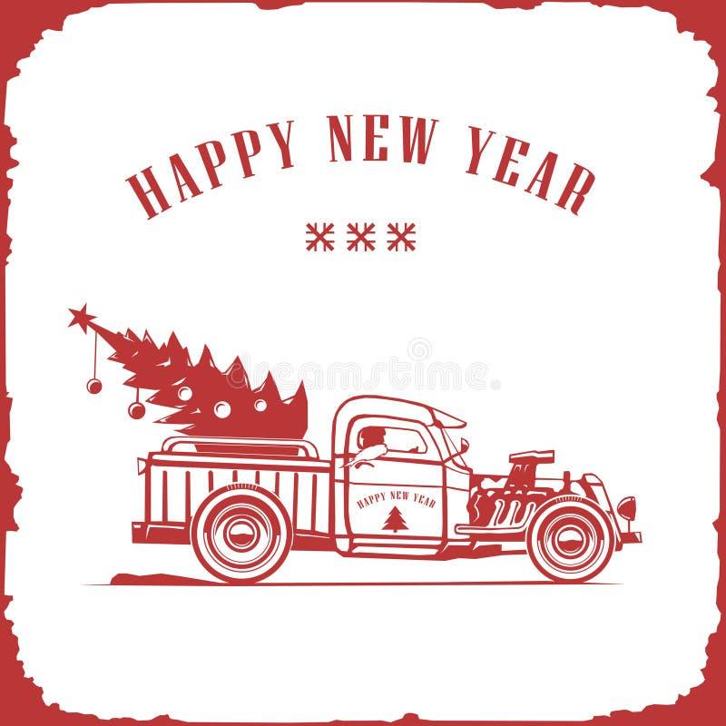 Boże Narodzenia przewożą samochodem, bocznego widoku czerwony kolor, wektorowy wizerunek, stary karta styl ilustracji