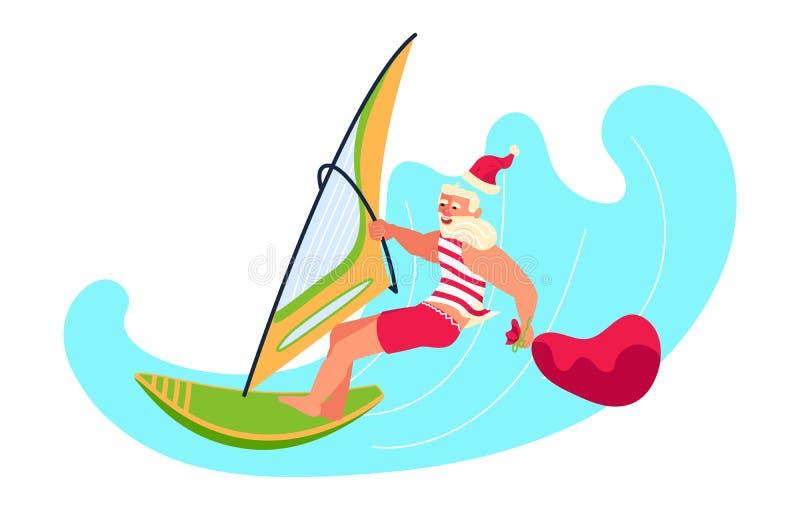 Boże Narodzenia przy tropikalnym dennym resorem ilustracja wektor