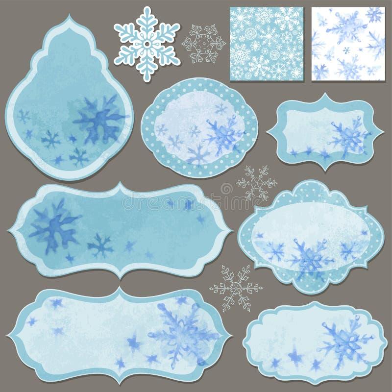 Boże Narodzenia przylepiają etykietkę set ilustracja wektor