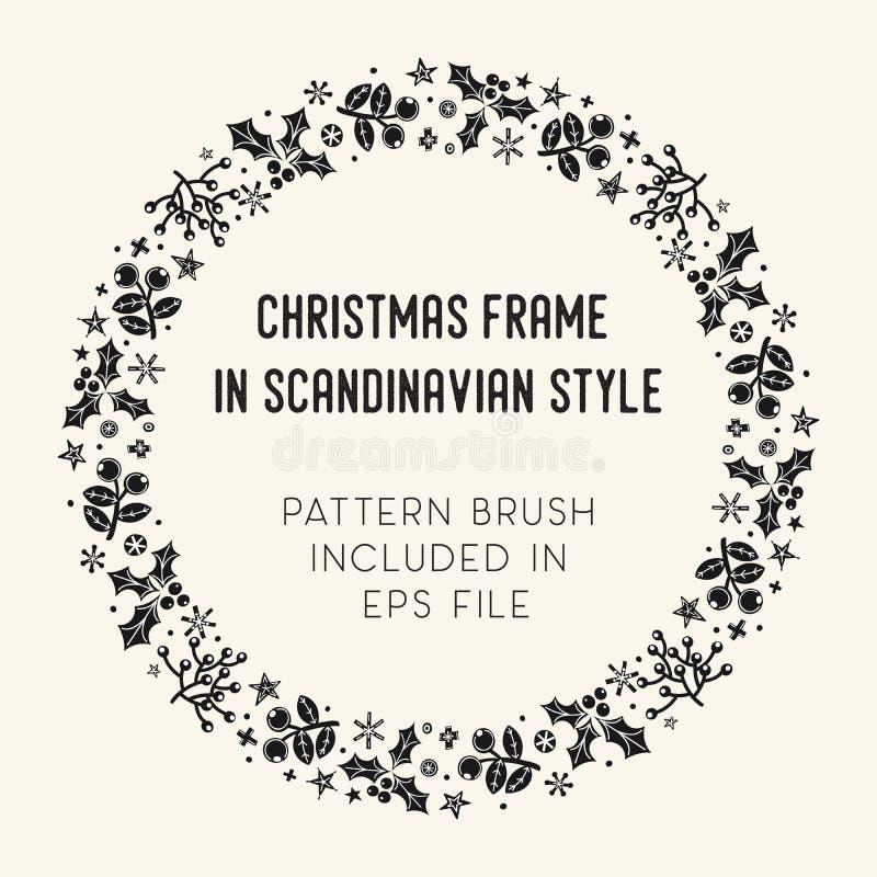 Boże Narodzenia rama i muśnięcie z narożnikowymi płytkami ilustracji