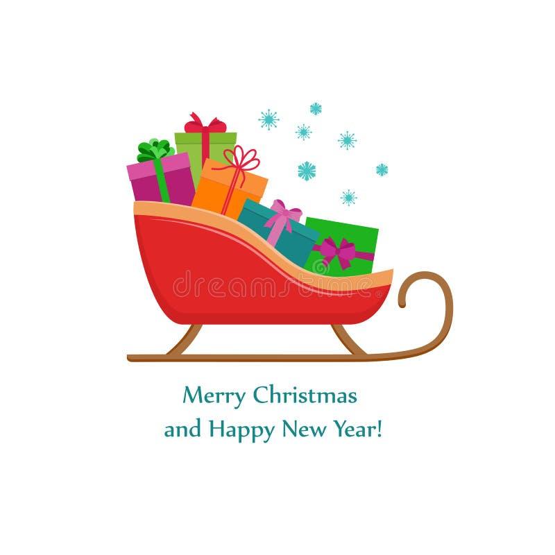 Boże Narodzenia saneczkują z teraźniejszymi pudełkami, płaski projekt, Wesoło bożych narodzeń witać ilustracji
