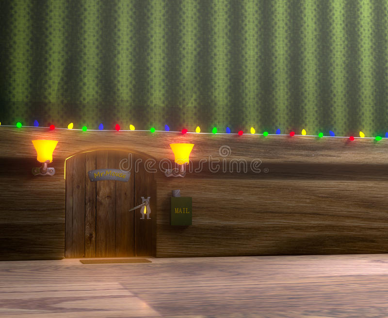 boże narodzenia stwarzać ognisko domowe drewnianej mister myszy royalty ilustracja