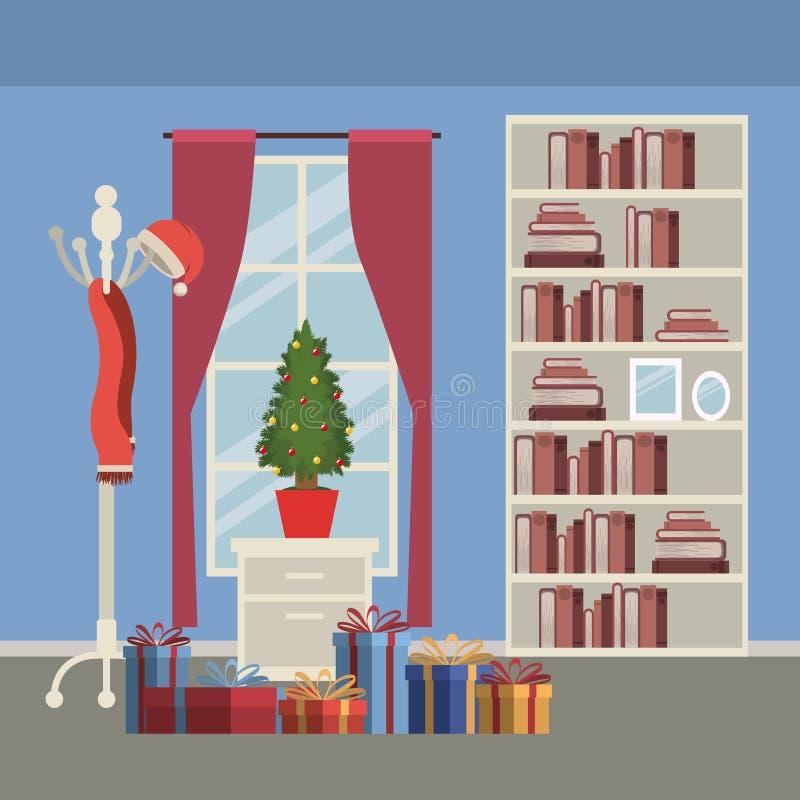 Boże Narodzenia stwarzają ognisko domowe scenę z nadokiennym tłem i półka na książki książki z małą choinką w garnku nad stołem i ilustracja wektor