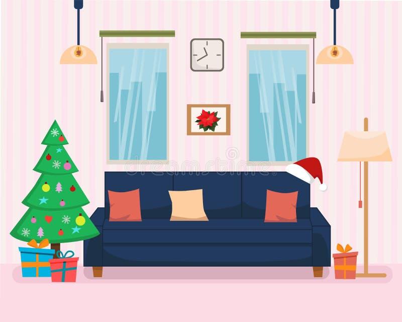 Boże Narodzenia Stwarzają ognisko domowe wnętrze z drzewem, prezentami, meble i kanapą, półka na książki, lampa Płaska kreskówka  ilustracji