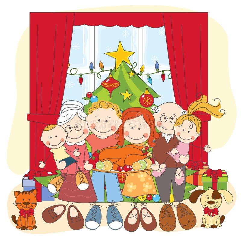 Boże Narodzenia. Szczęśliwa rodzina wpólnie. royalty ilustracja