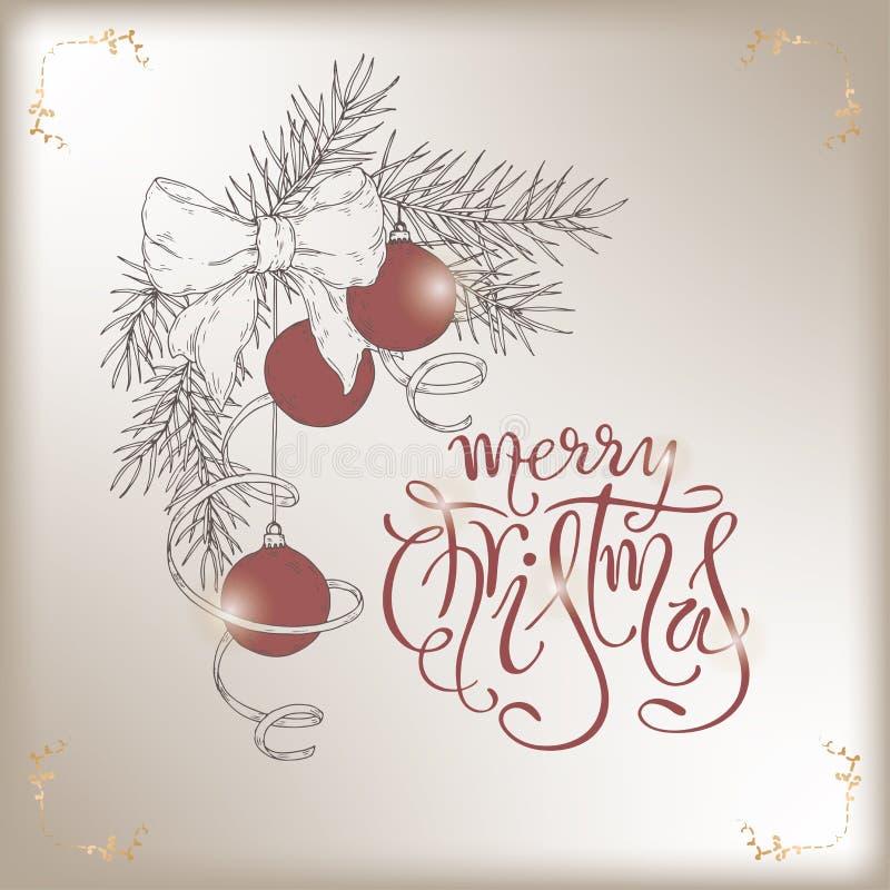 Boże Narodzenia szczotkują literowanie i wręczają patroszoną sosny gałąź z wakacyjnymi dekoracjami royalty ilustracja