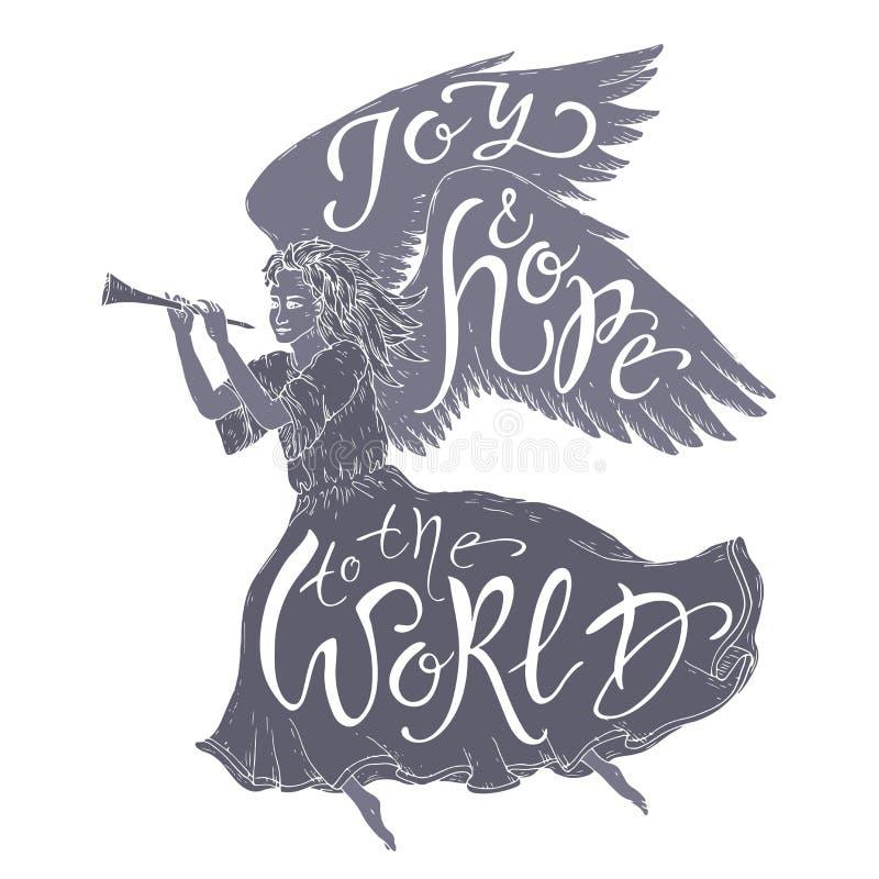 Boże Narodzenia szczotkują literowanie umieszczającego w postaci latającego anioła i mówi świat radość i nadzieję royalty ilustracja