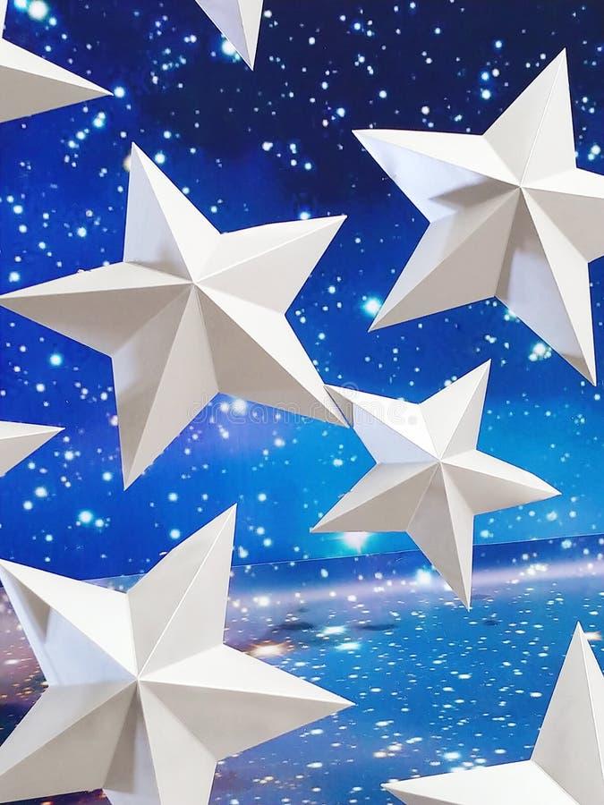 Boże Narodzenia tapetują tło z dużymi białymi gwiazdami zdjęcie stock