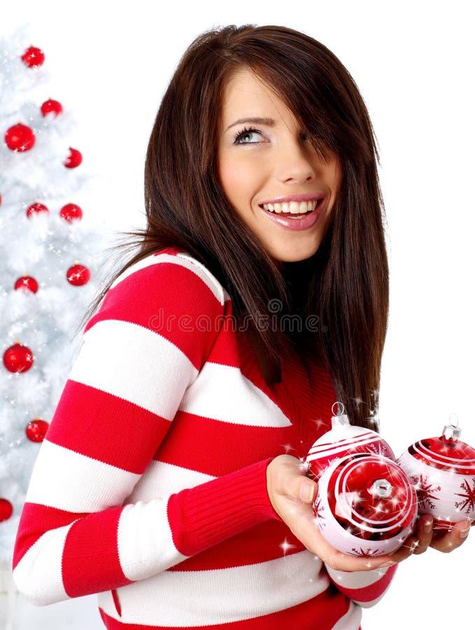 boże narodzenia target344_0_ drzewnej białej kobiety obraz stock