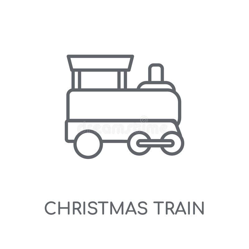 Boże Narodzenia trenują liniową ikonę Nowożytnych konturów bożych narodzeń taborowy logo ilustracja wektor