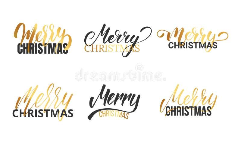 Boże Narodzenia Typograficzny logo ustawiający dla boże narodzenie projekta Ręki kaligrafii letetring Wesoło boże narodzenia ilustracja wektor