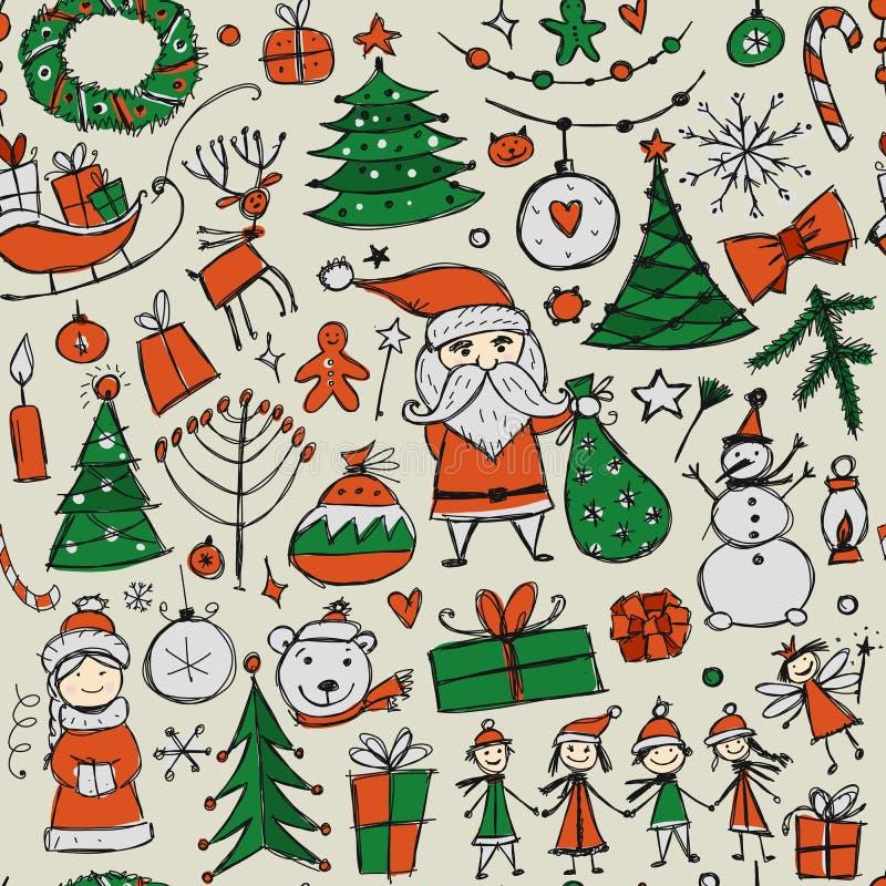 Boże Narodzenia ustawiają, bezszwowy pettern dla twój projekta royalty ilustracja