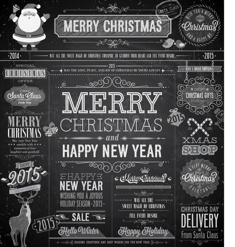 Boże Narodzenia ustawiający - etykietki royalty ilustracja