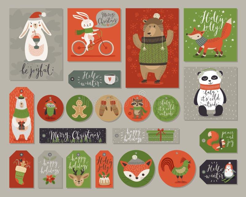 Boże Narodzenia ustawiający, ręka rysujący styl, zwierzęta i inni elementy, - kaligrafia, royalty ilustracja