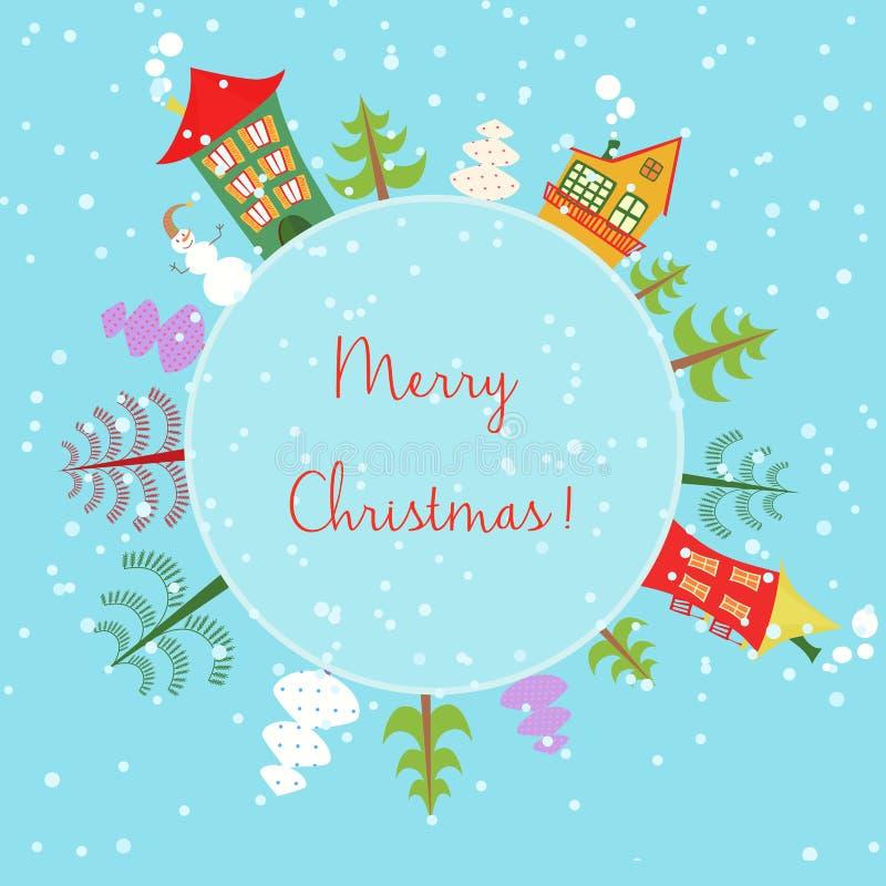 Boże Narodzenia uziemiają wakacyjnego tło Round sztandar z drzewami, kreskówka domami i bałwanem, ilustracja wektor