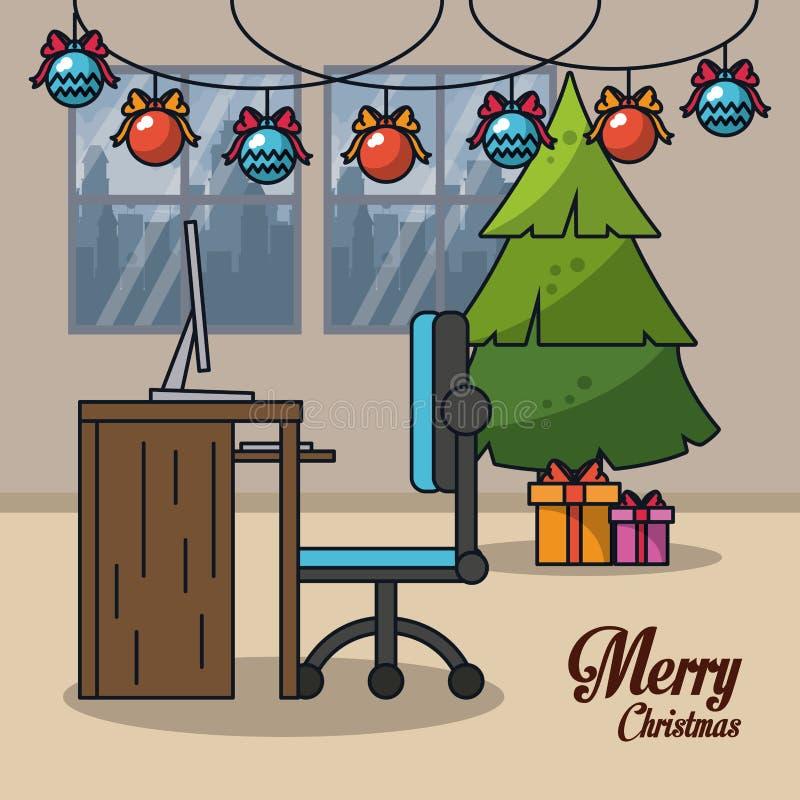 Boże Narodzenia w biurze ilustracja wektor