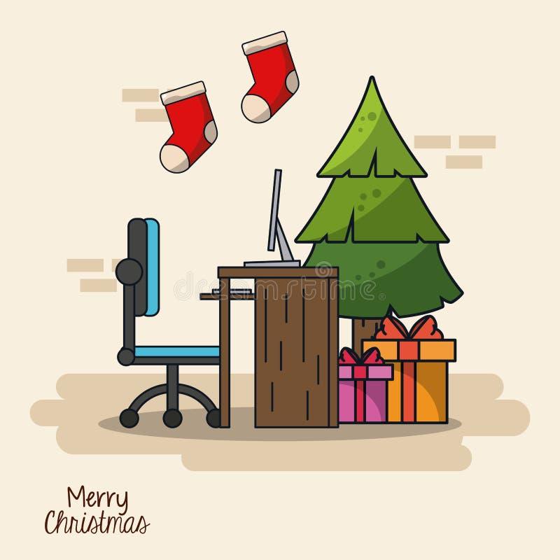Boże Narodzenia w biurze royalty ilustracja