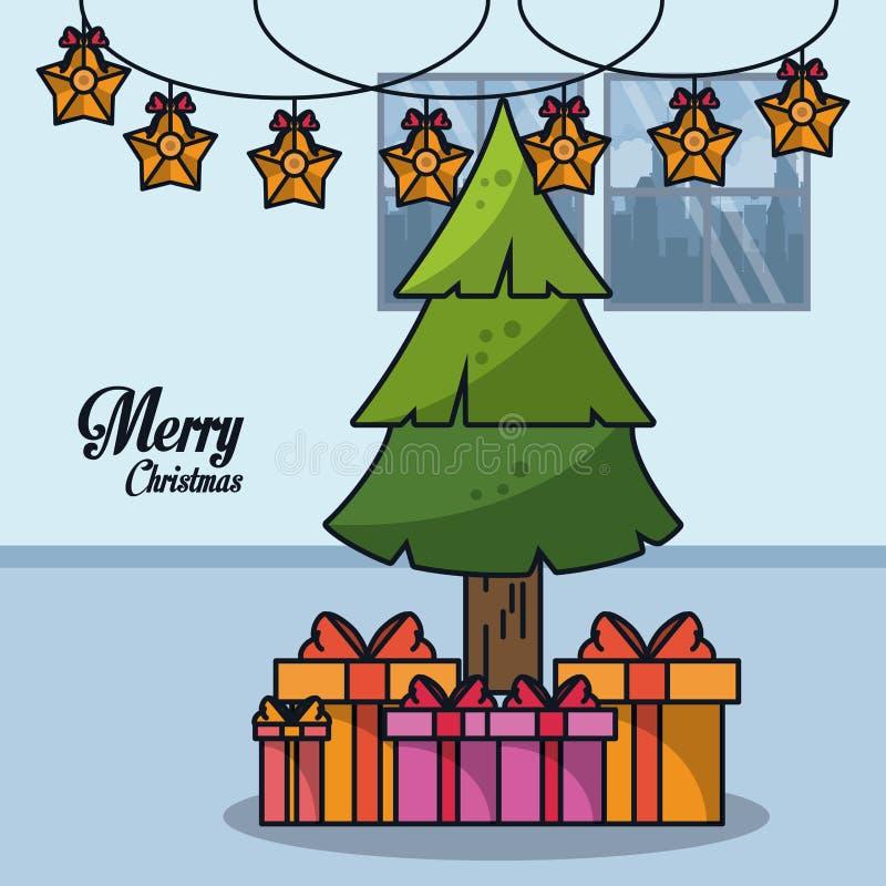 Boże Narodzenia w domowej kreskówce ilustracji