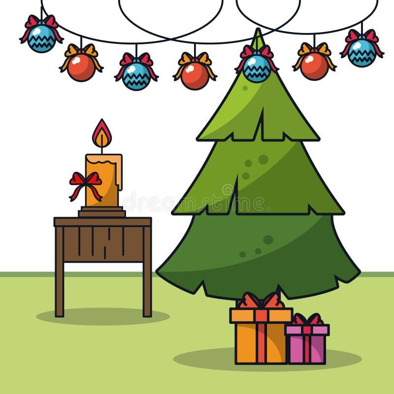 Boże Narodzenia w domowej kreskówce royalty ilustracja